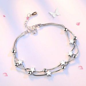 Sterling Silver Double Layer Star Bead Bracelet